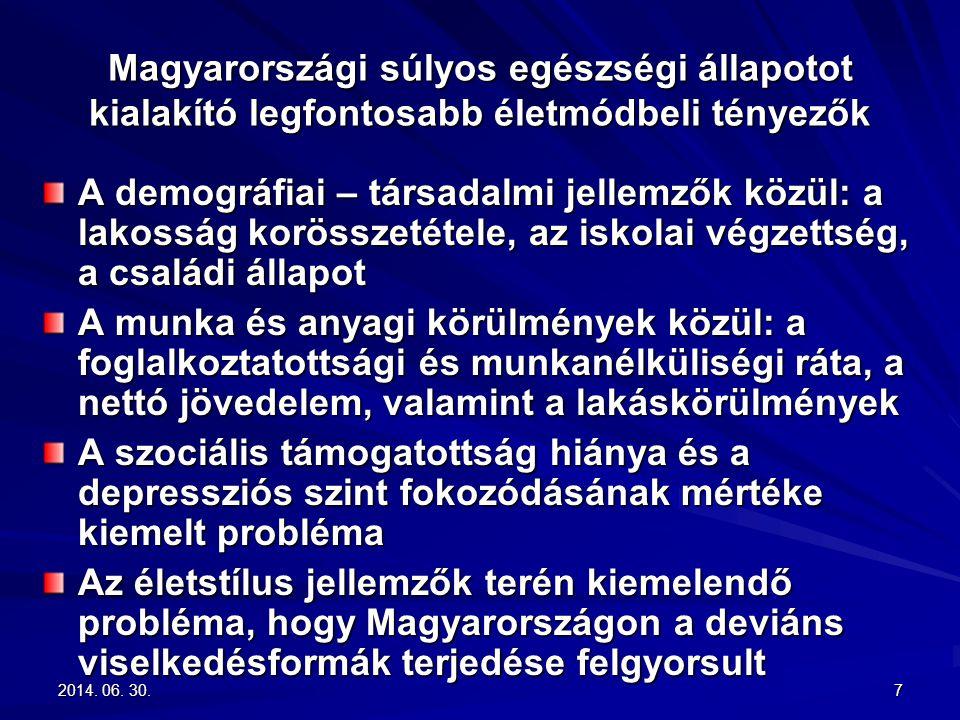 2014. 06. 30.2014. 06. 30.2014. 06. 30.7 Magyarországi súlyos egészségi állapotot kialakító legfontosabb életmódbeli tényezők A demográfiai – társadal