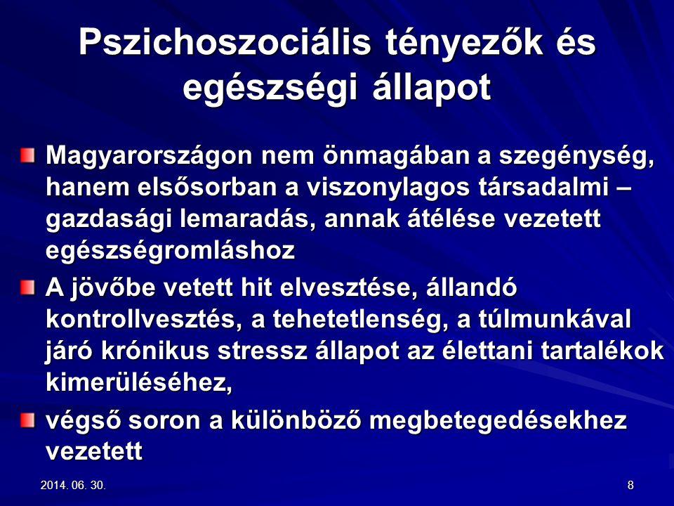 2014. 06. 30.2014. 06. 30.2014. 06. 30.8 Pszichoszociális tényezők és egészségi állapot Magyarországon nem önmagában a szegénység, hanem elsősorban a
