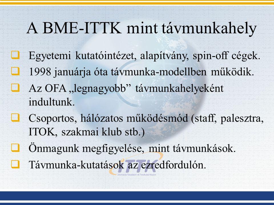 """A BME-ITTK mint távmunkahely  Egyetemi kutatóintézet, alapítvány, spin-off cégek.  1998 januárja óta távmunka-modellben működik.  Az OFA """"legnagyob"""