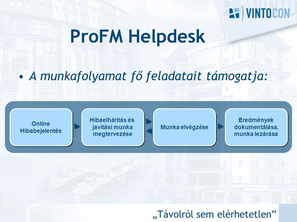 """""""Távolról sem elérhetetlen"""" ProFM Helpdesk •A munkafolyamat fő feladatait támogatja: Online Hibabejelentés Hibaelhárítás és javítási munka megtervezés"""