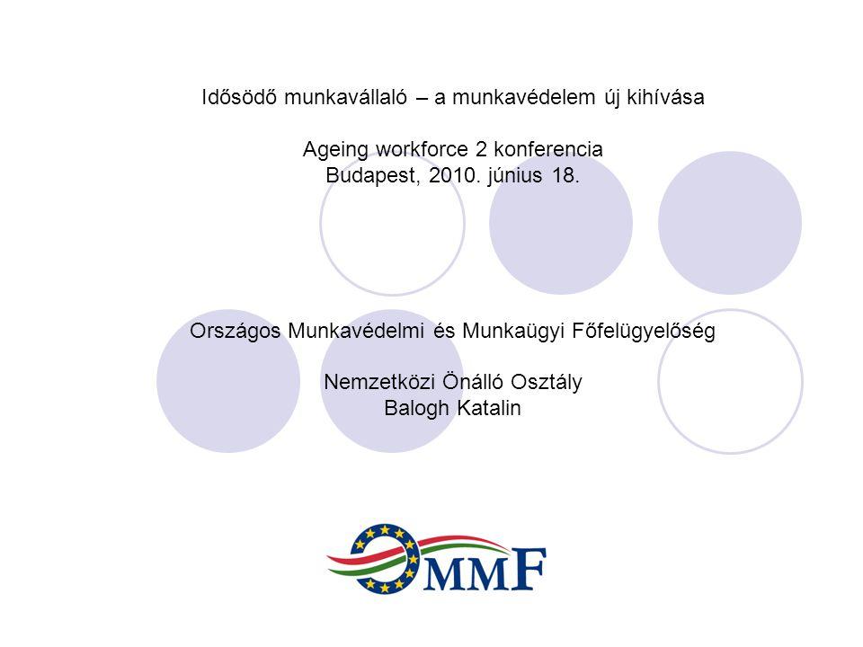 Idősödő munkavállaló – a munkavédelem új kihívása Ageing workforce 2 konferencia Budapest, 2010. június 18. Országos Munkavédelmi és Munkaügyi Főfelüg