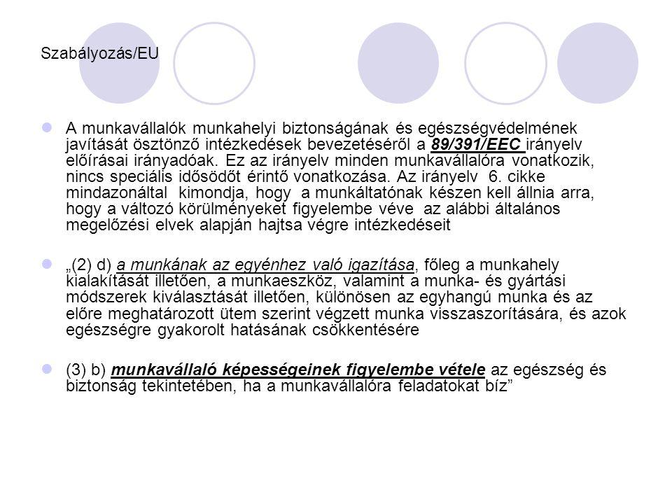 Szabályozás/EU  A munkavállalók munkahelyi biztonságának és egészségvédelmének javítását ösztönző intézkedések bevezetéséről a 89/391/EEC irányelv el