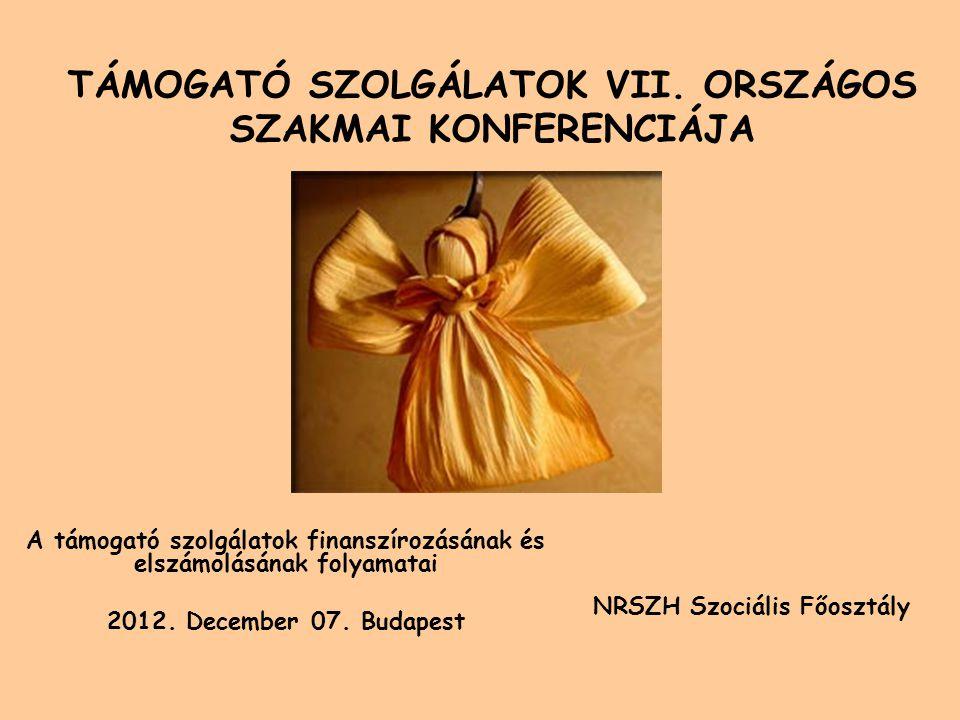 TÁMOGATÓ SZOLGÁLATOK VII. ORSZÁGOS SZAKMAI KONFERENCIÁJA A támogató szolgálatok finanszírozásának és elszámolásának folyamatai 2012. December 07. Buda