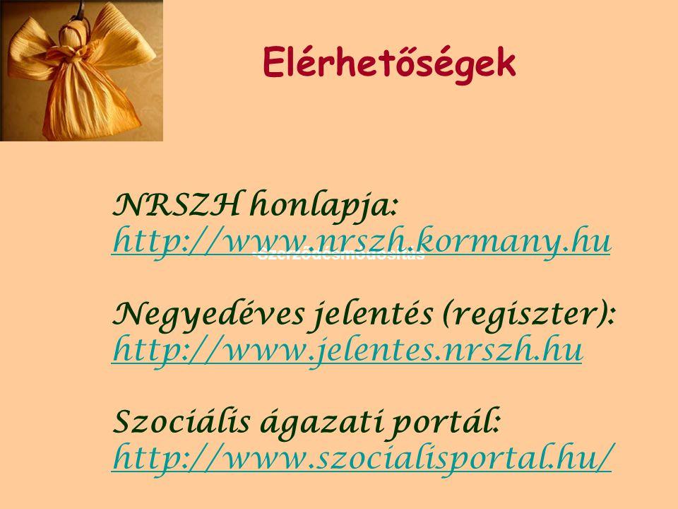 •Szerződésmódosítás Elérhetőségek NRSZH honlapja: http://www.nrszh.kormany.hu Negyedéves jelentés (regiszter): http://www.jelentes.nrszh.hu Szociális ágazati portál: http://www.szocialisportal.hu/