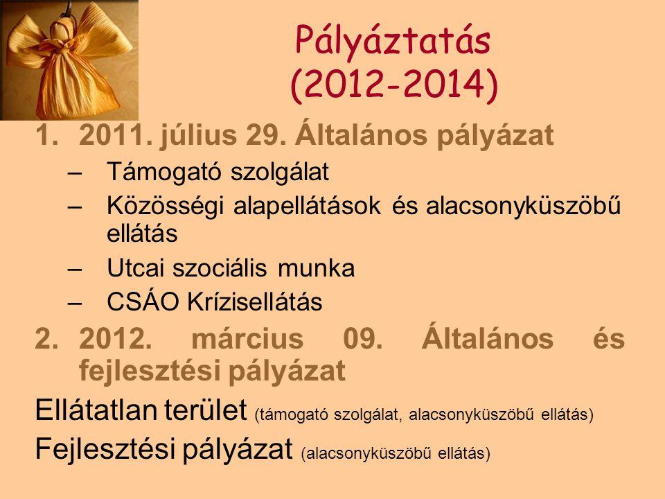 Pályáztatás (2012-2014) 1.2011. július 29. Általános pályázat –Támogató szolgálat –Közösségi alapellátások és alacsonyküszöbű ellátás –Utcai szociális