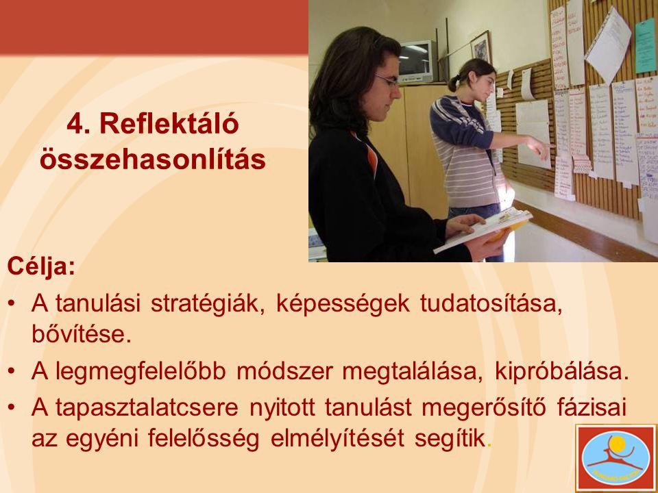 4. Reflektáló összehasonlítás Célja: •A tanulási stratégiák, képességek tudatosítása, bővítése. •A legmegfelelőbb módszer megtalálása, kipróbálása. •A