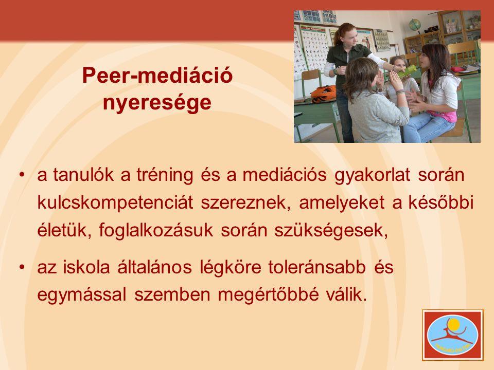 Peer-mediáció nyeresége •a tanulók a tréning és a mediációs gyakorlat során kulcskompetenciát szereznek, amelyeket a későbbi életük, foglalkozásuk sor