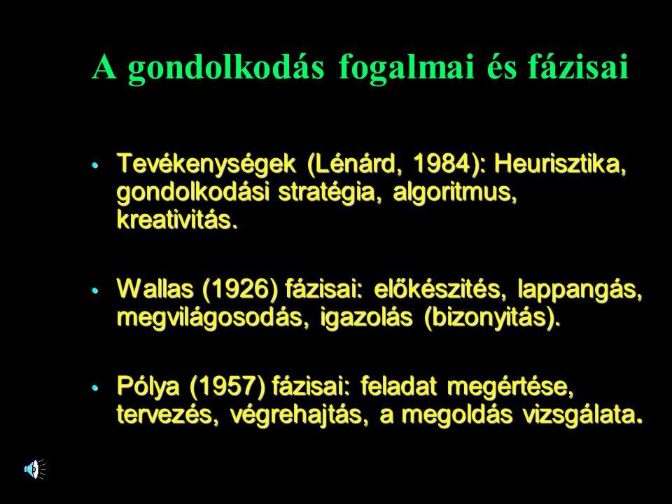 A gondolkodás fogalmai és fázisai • Tevékenységek (Lénárd, 1984): Heurisztika, gondolkodási stratégia, algoritmus, kreativitás. • Wallas (1926) fázisa