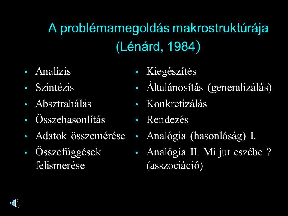 A problémamegoldás makrostruktúrája (Lénárd, 1984 ) • Analízis • Szintézis • Absztrahálás • Összehasonlítás • Adatok összemérése • Összefüggések felis
