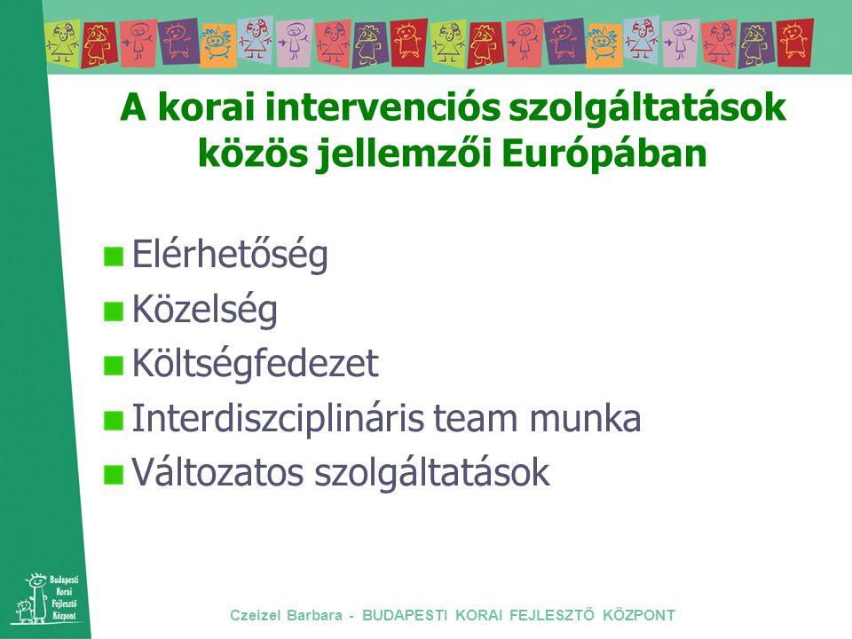 Czeizel Barbara - BUDAPESTI KORAI FEJLESZTŐ KÖZPONT A korai intervenciós szolgáltatások közös jellemzői Európában Elérhetőség Közelség Költségfedezet