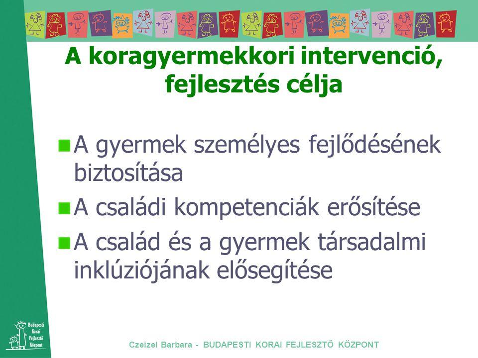 Czeizel Barbara - BUDAPESTI KORAI FEJLESZTŐ KÖZPONT A koragyermekkori intervenció, fejlesztés célja A gyermek személyes fejlődésének biztosítása A csa