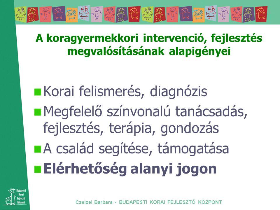 Czeizel Barbara - BUDAPESTI KORAI FEJLESZTŐ KÖZPONT A koragyermekkori intervenció, fejlesztés megvalósításának alapigényei Korai felismerés, diagnózis
