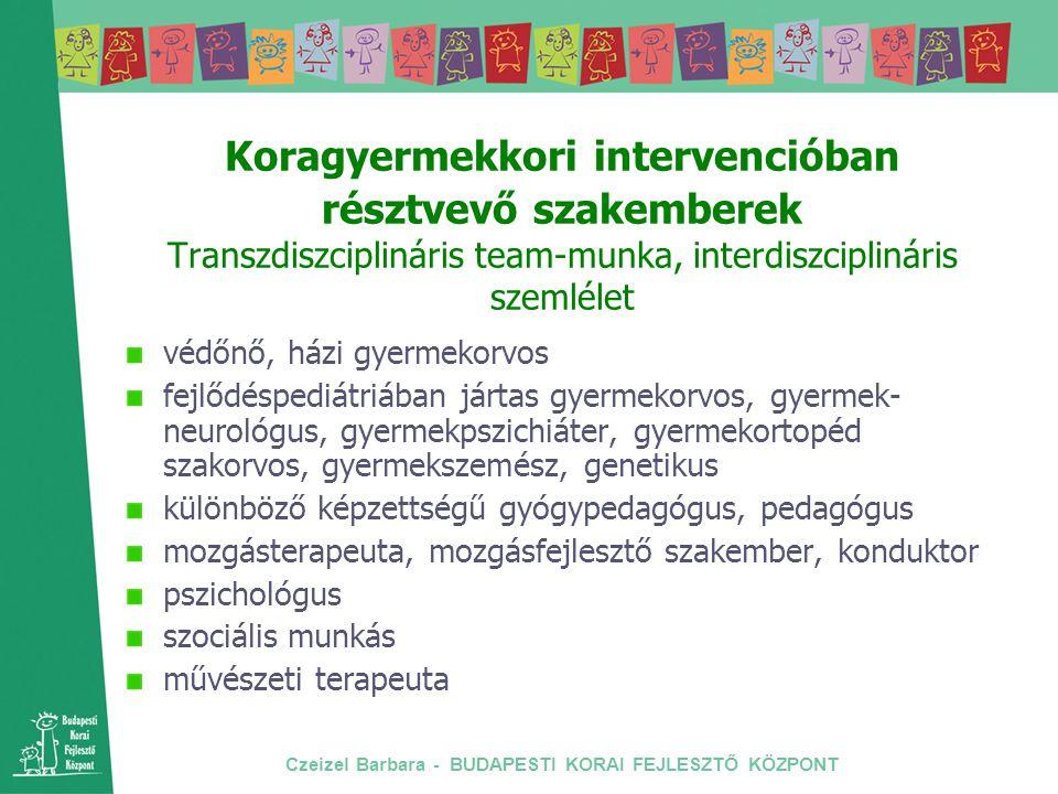 Czeizel Barbara - BUDAPESTI KORAI FEJLESZTŐ KÖZPONT Koragyermekkori intervencióban résztvevő szakemberek Transzdiszciplináris team-munka, interdiszcip