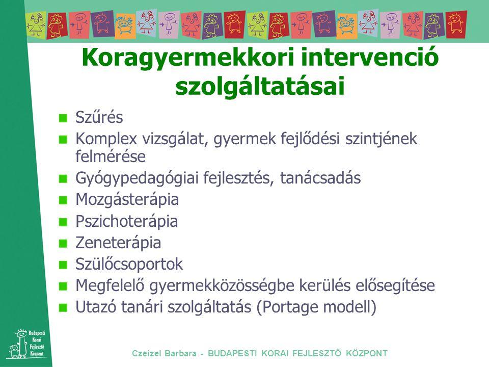 Czeizel Barbara - BUDAPESTI KORAI FEJLESZTŐ KÖZPONT Koragyermekkori intervenció szolgáltatásai Szűrés Komplex vizsgálat, gyermek fejlődési szintjének