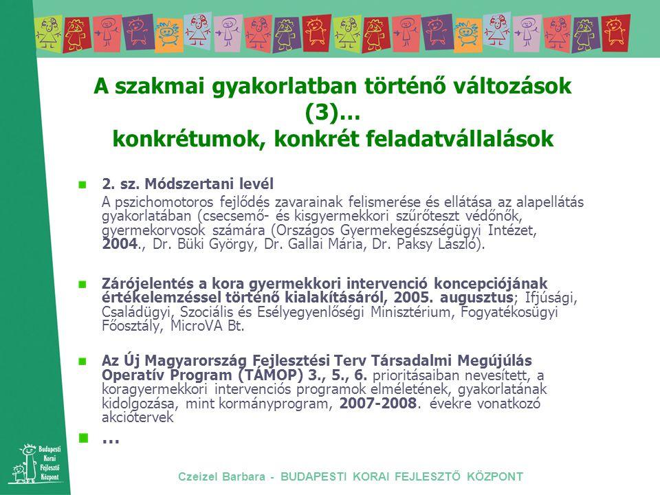 Czeizel Barbara - BUDAPESTI KORAI FEJLESZTŐ KÖZPONT A szakmai gyakorlatban történő változások (3)… konkrétumok, konkrét feladatvállalások 2. sz. Módsz