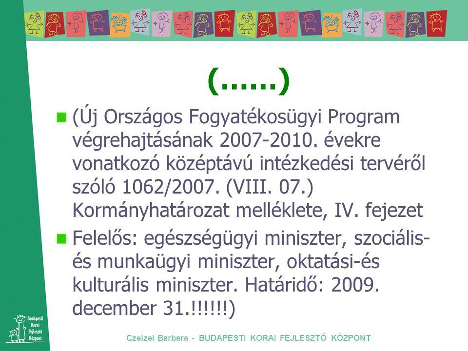 Czeizel Barbara - BUDAPESTI KORAI FEJLESZTŐ KÖZPONT (……) (Új Országos Fogyatékosügyi Program végrehajtásának 2007-2010. évekre vonatkozó középtávú int