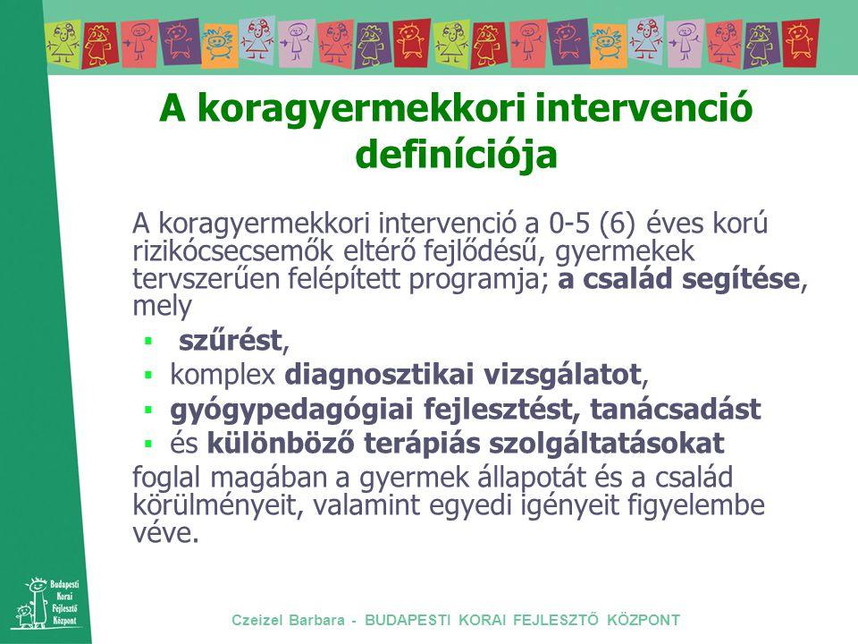 Czeizel Barbara - BUDAPESTI KORAI FEJLESZTŐ KÖZPONT Magyarországi intézmények a 90-es évek derekán Tanulási Képességeket Vizsgáló Szakértői és Rehabilitációs Bizottságok (beiskolázási döntések 3 éves kor felett) Nevelési Tanácsadók (3-18 éves korig) (viselkedési és érzelmi problémák) Vakok Állami Intézete, Siketek és Nagyothallók Országos Szövetsége, Mozgássérültek Állami Intézete Pető Intézet (konduktív pedagógia)