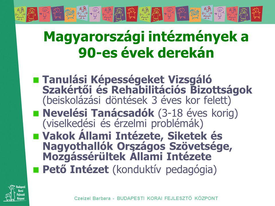 Czeizel Barbara - BUDAPESTI KORAI FEJLESZTŐ KÖZPONT Magyarországi intézmények a 90-es évek derekán Tanulási Képességeket Vizsgáló Szakértői és Rehabil