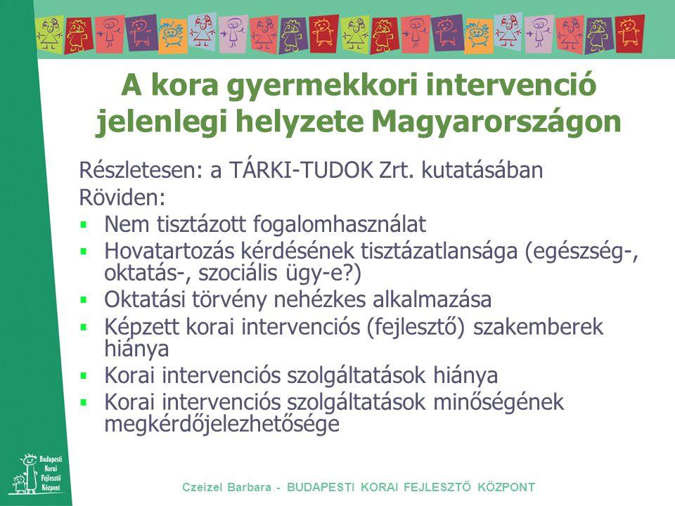 Czeizel Barbara - BUDAPESTI KORAI FEJLESZTŐ KÖZPONT A kora gyermekkori intervenció jelenlegi helyzete Magyarországon Részletesen: a TÁRKI-TUDOK Zrt. k
