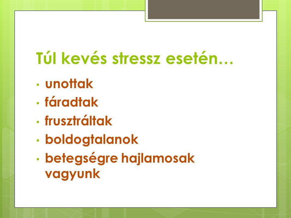 Túl kevés stressz esetén… • unottak • fáradtak • frusztráltak • boldogtalanok • betegségre hajlamosak vagyunk