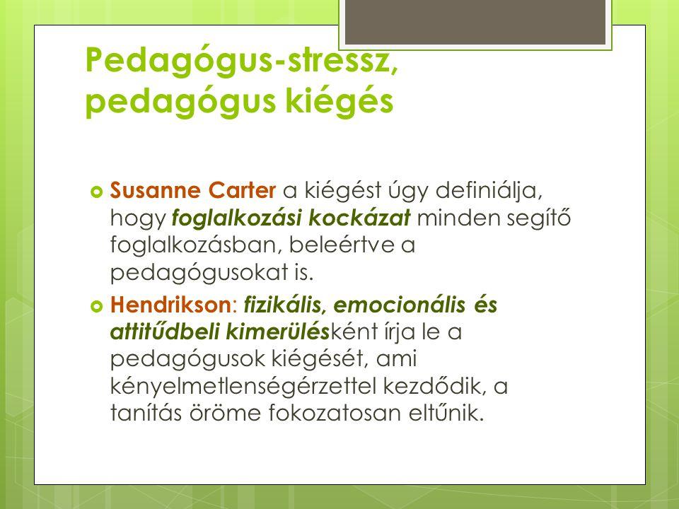 Pedagógus-stressz, pedagógus kiégés  Susanne Carter a kiégést úgy definiálja, hogy foglalkozási kockázat minden segítő foglalkozásban, beleértve a pe
