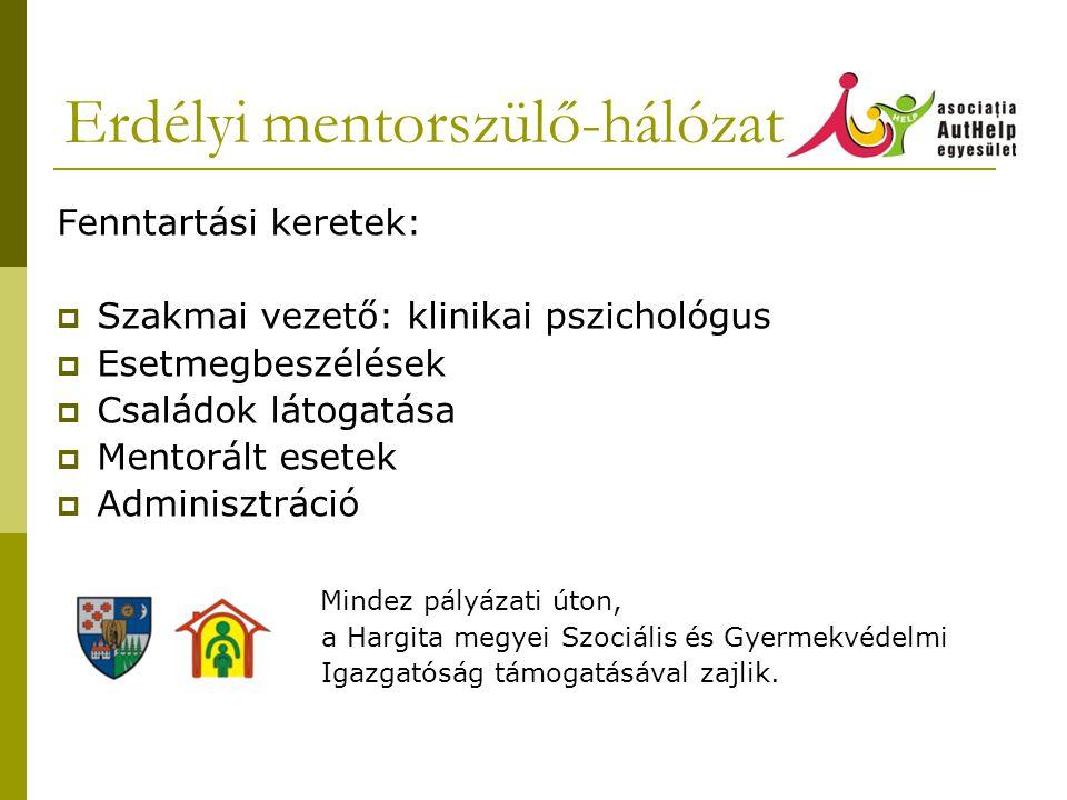 Erdélyi mentorszülő-hálózat Fenntartási keretek:  Szakmai vezető: klinikai pszichológus  Esetmegbeszélések  Családok látogatása  Mentorált esetek