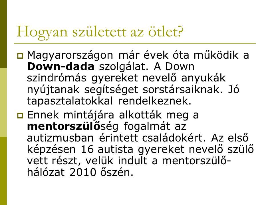 Hogyan született az ötlet?  Magyarországon már évek óta működik a Down-dada szolgálat. A Down szindrómás gyereket nevelő anyukák nyújtanak segítséget