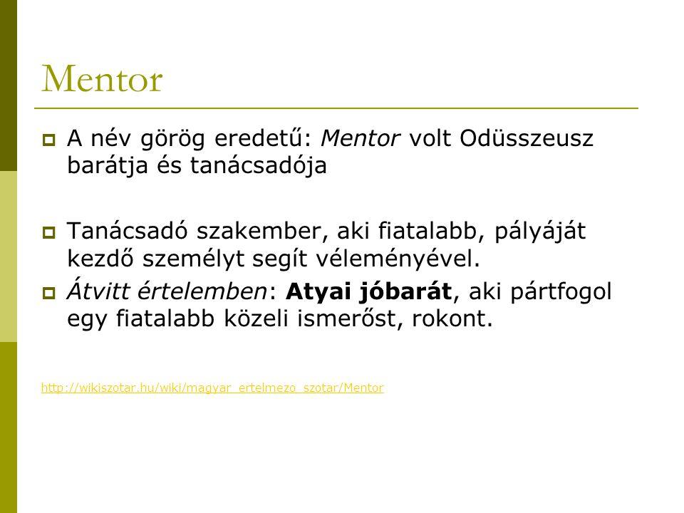 Mentor  A név görög eredetű: Mentor volt Odüsszeusz barátja és tanácsadója  Tanácsadó szakember, aki fiatalabb, pályáját kezdő személyt segít vélemé