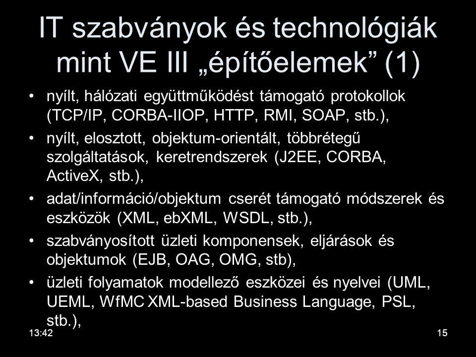 """III szerepe •Közvetítő szerep: –biztonságos és jól koordinált interakciók biztosításával támogatja a rendszer- komponensek együttműködését. •VE """"operá"""