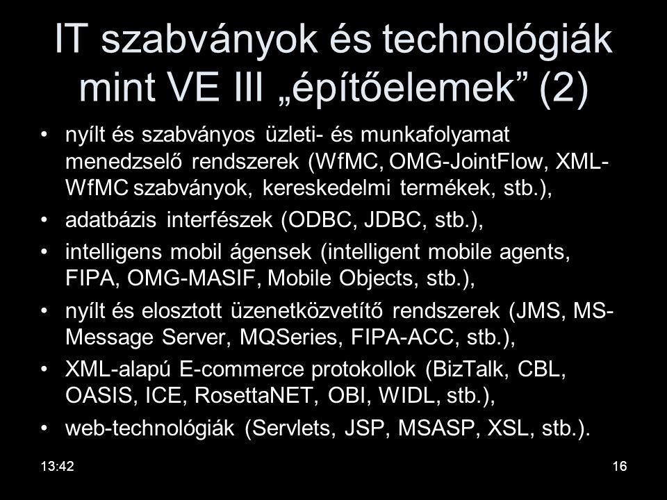 """IT szabványok és technológiák mint VE III """"építőelemek"""" (1) •nyílt, hálózati együttműködést támogató protokollok (TCP/IP, CORBA-IIOP, HTTP, RMI, SOAP,"""