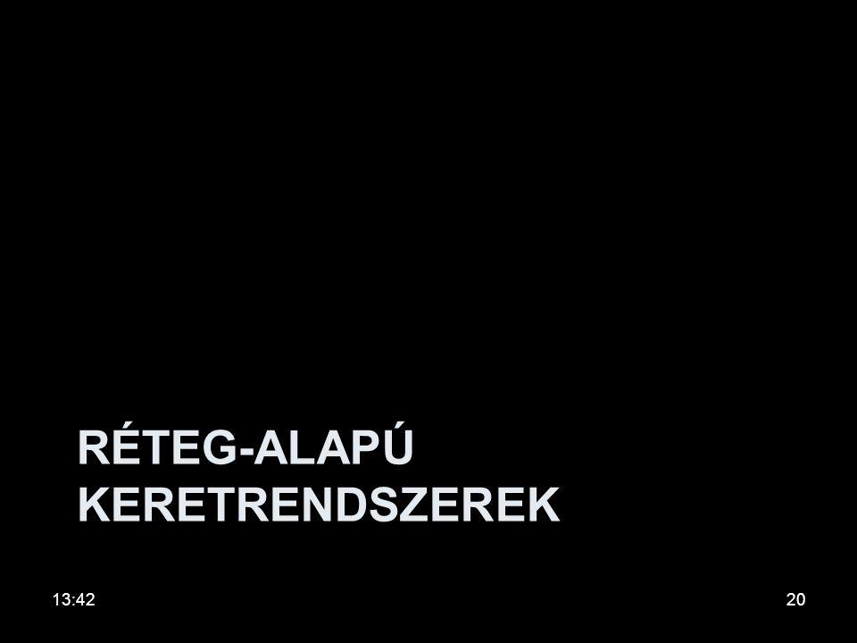 Keretrendszerek Két kiemelt Irányzat: •Réteg-alapú keretrendszerek •Ágens-alapú keretrendszerek Irodalom Camarinha-Matos L. M., Afsarmanesh H.: Elemen