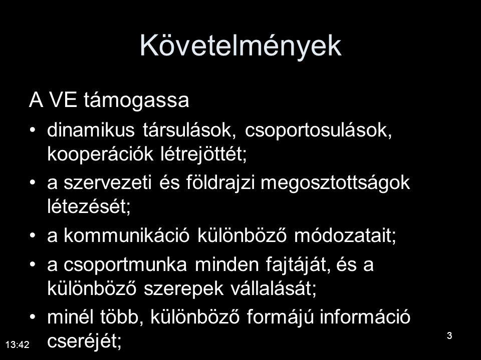 Követelmények A VE támogassa •dinamikus társulások, csoportosulások, kooperációk létrejöttét; •a szervezeti és földrajzi megosztottságok létezését; •a kommunikáció különböző módozatait; •a csoportmunka minden fajtáját, és a különböző szerepek vállalását; •minél több, különböző formájú információ cseréjét; 13:44 3
