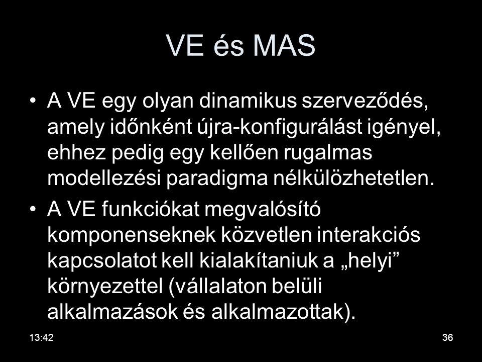 VE és MAS •A VE-k fejlesztési irányzatai az információ modellezéséről és cseréjéről áthelyezik a hangsúlyt a szerepkörök modellezésére, a felelősségek