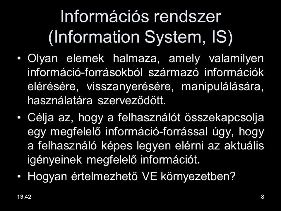 Információs rendszer (Information System, IS) •Olyan elemek halmaza, amely valamilyen információ-forrásokból származó információk elérésére, visszanyerésére, manipulálására, használatára szerveződött.
