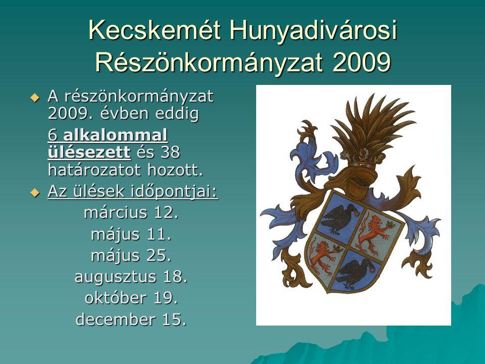 Kecskemét Hunyadivárosi Részönkormányzat 2009  A részönkormányzat 2009. évben eddig 6 alkalommal ülésezett és 38 határozatot hozott.  Az ülések időp