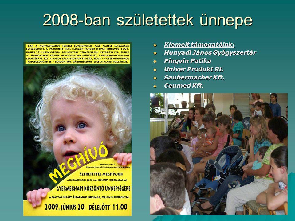 2008-ban születettek ünnepe  Kiemelt támogatóink:  Hunyadi János Gyógyszertár  Pingvin Patika  Univer Produkt Rt.  Saubermacher Kft.  Ceumed Kft