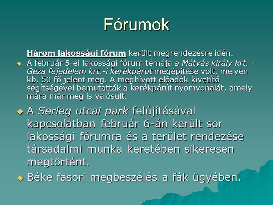 Fórumok Három lakossági fórum került megrendezésre idén.  A február 5-ei lakossági fórum témája a Mátyás király krt. - Géza fejedelem krt.-i kerékpár