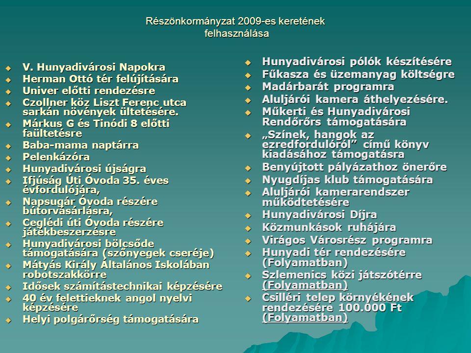 Részönkormányzat 2009-es keretének felhasználása  V. Hunyadivárosi Napokra  Herman Ottó tér felújítására  Univer előtti rendezésre  Czollner köz L