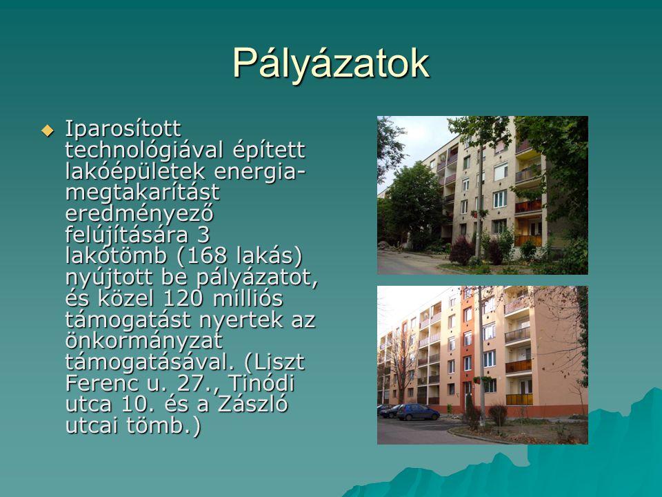 Pályázatok  Iparosított technológiával épített lakóépületek energia- megtakarítást eredményező felújítására 3 lakótömb (168 lakás) nyújtott be pályázatot, és közel 120 milliós támogatást nyertek az önkormányzat támogatásával.