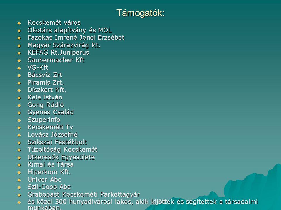 Támogatók:  Kecskemét város  Ökotárs alapítvány és MOL  Fazekas Imréné Jenei Erzsébet  Magyar Szárazvirág Rt.