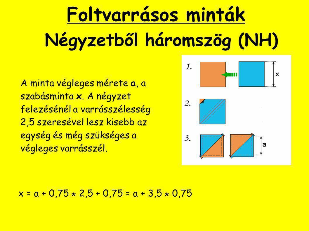 Foltvarrásos minták Négyzetből háromszög (NH) A minta végleges mérete a, a szabásminta x.