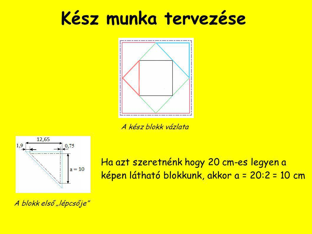 A blokk közepe Végül a blokk közepére kell kiszabnunk a fekete négyzetet, melynek két oldalhossza b = 10 cm, így a varrásráhagyással együtt az oldal hossza d = b + 2 ∙ 0,75 = 11,5 cm, ez a szabás mérete.