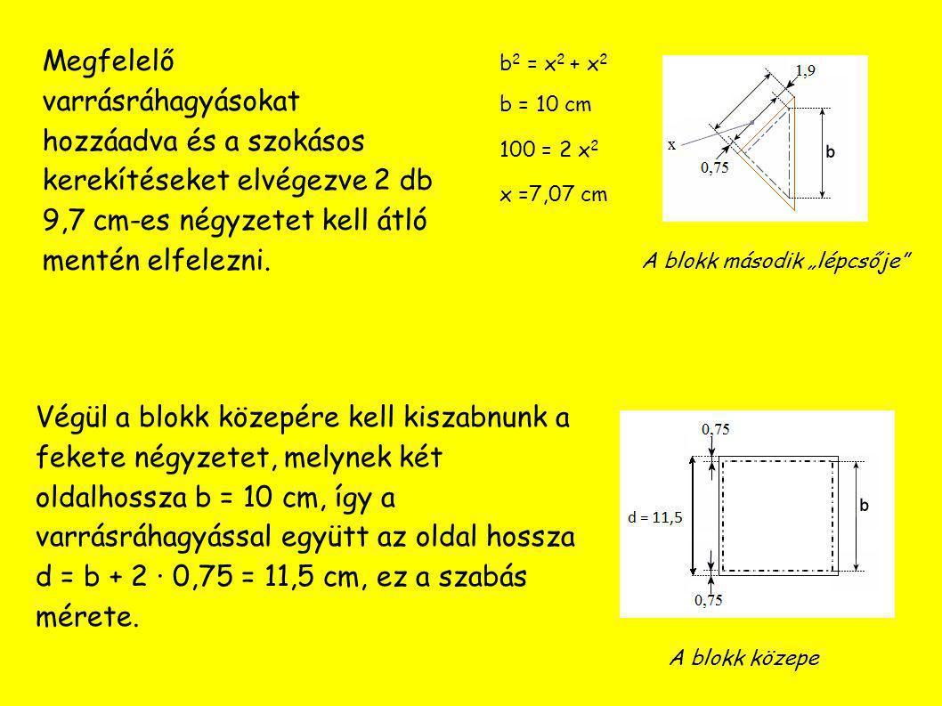 Sárga: 4 db 12,7x12,7 cm 4 db 9,7x9,7 cm Piros: 4 db 12,7x12,7 cm 4 db 9,7x9,7 cm Fehér: 4 db 11,5x11,5 cm Előlaphoz szükséges szabáslista
