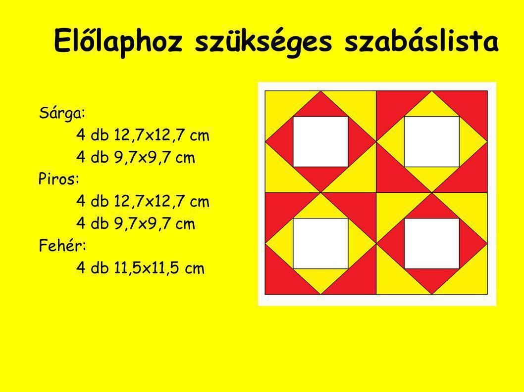 A kész kispárna előlapja A mérete (5 + 2 ∙ 0,75)x(2∙20 + 2 ∙ 0,75), azaz 6,5 x 41, 5 cm B mérete (5 + 2 ∙ 0,75)x(2 ∙ 20 + 2 ∙ 5 + 2 ∙ 0,75), azaz 6,5 x 51,5 cm A keret elkészítése