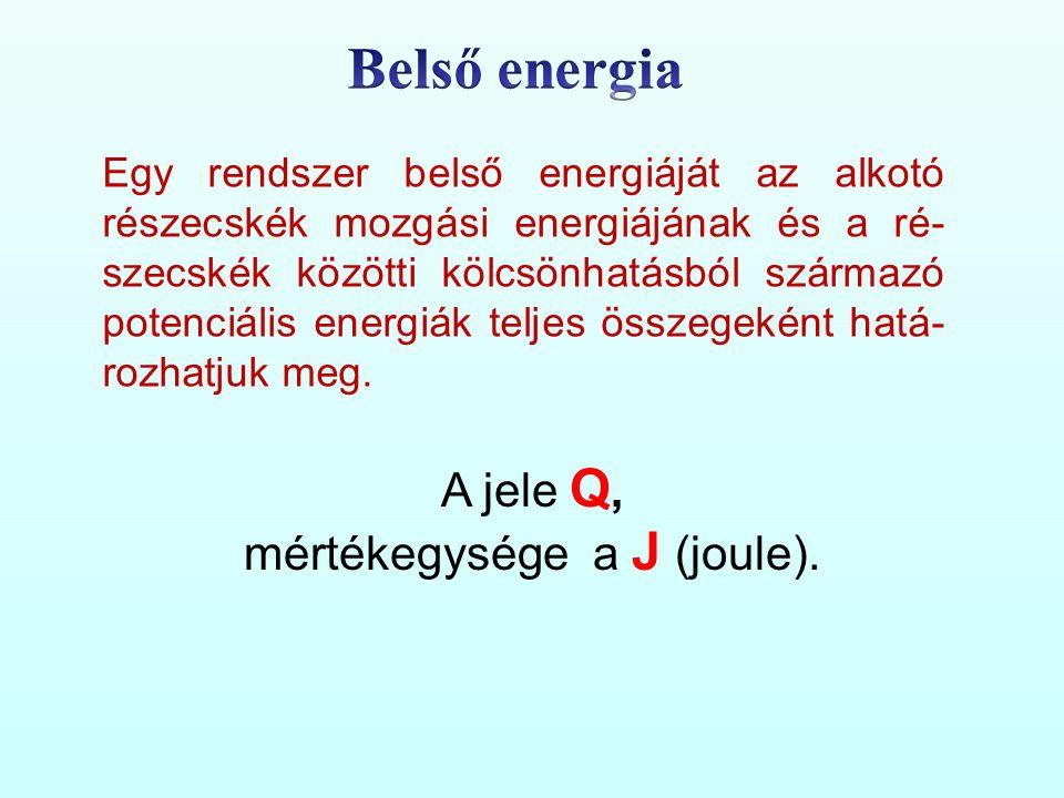 Egy rendszer belső energiáját az alkotó részecskék mozgási energiájának és a ré- szecskék közötti kölcsönhatásból származó potenciális energiák teljes