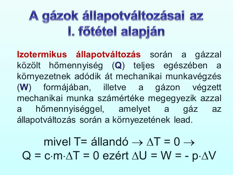 Izotermikus állapotváltozás során a gázzal közölt hőmennyiség (Q) teljes egészében a környezetnek adódik át mechanikai munkavégzés (W) formájában, ill