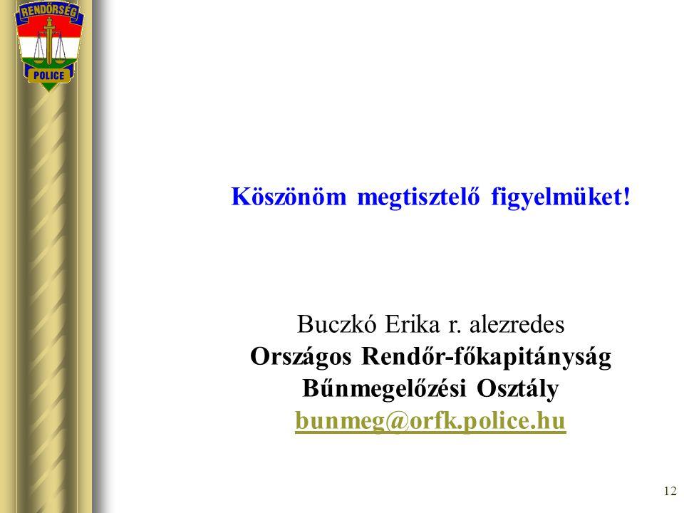 12 Köszönöm megtisztelő figyelmüket! Buczkó Erika r. alezredes Országos Rendőr-főkapitányság Bűnmegelőzési Osztály bunmeg@orfk.police.hu
