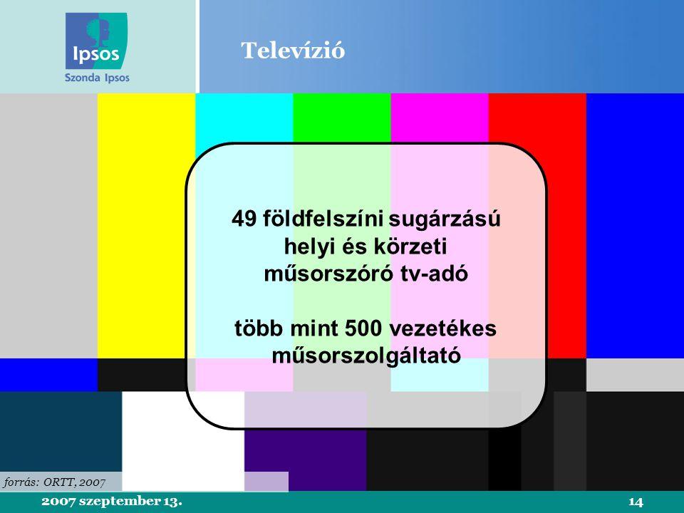 2007 szeptember 13.14 Televízió forrás: ORTT, 2007 49 földfelszíni sugárzású helyi és körzeti műsorszóró tv-adó több mint 500 vezetékes műsorszolgáltató