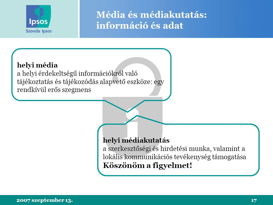 2007 szeptember 13.17 Média és médiakutatás: információ és adat helyi média a helyi érdekeltségű információkról való tájékoztatás és tájékozódás alapvető eszköze: egy rendkívül erős szegmens helyi médiakutatás a szerkesztőségi és hirdetési munka, valamint a lokális kommunikációs tevékenység támogatása Köszönöm a figyelmet!