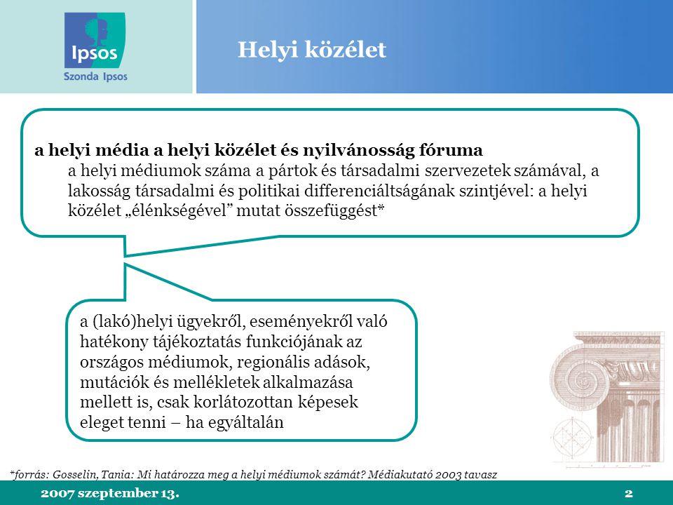2007 szeptember 13.13 Helyi rádiók Budapesten forrás: Szonda Ipsos-GfK Hungária országos rádióhallgatottsági mérés, 2007 február-július share bázis: 15+ budapesti népesség